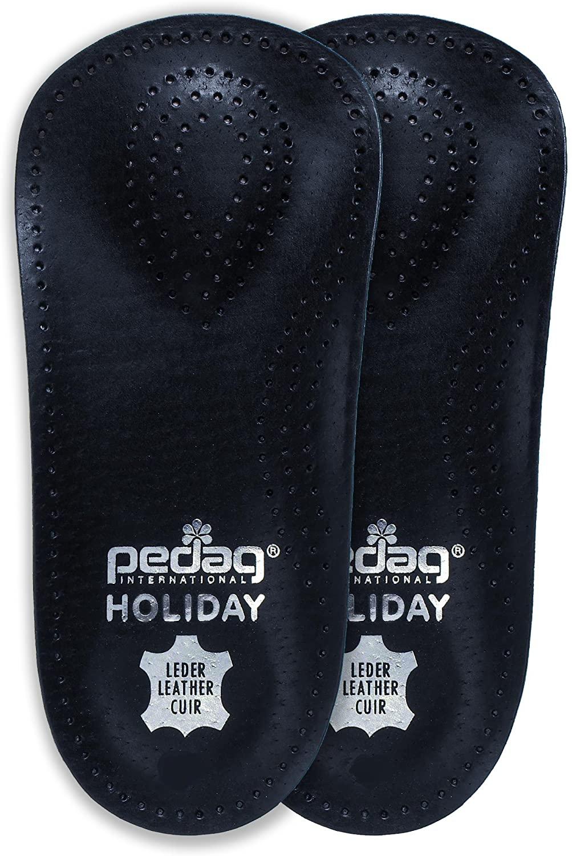 Pedag Holiday 2 Pair 34 Leather Orthotic Thin Semi-Rigid with Metatarsal Pad and Heel Cushion, Black, US W5EU 35, 4.2 Ounce