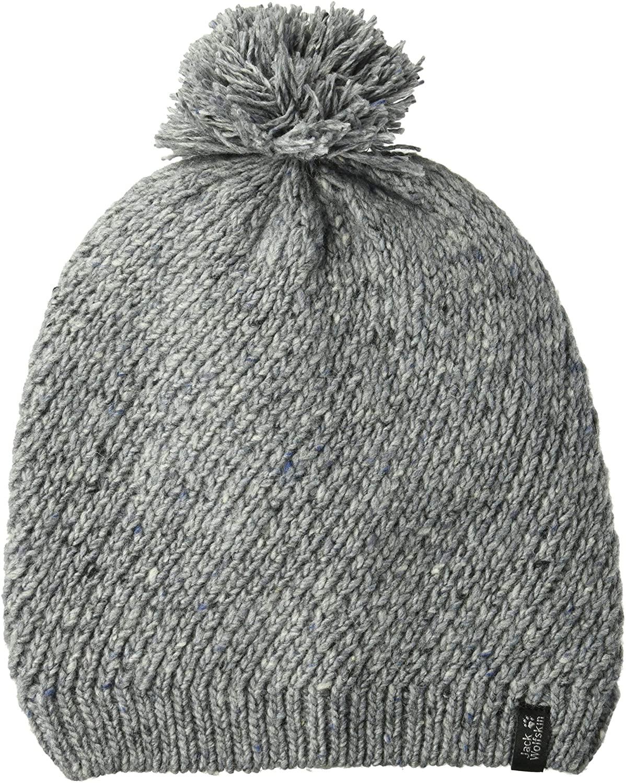 Jack Wolfskin Women's Merino Knitted Pom-Pom Beanie Hat, Slate Grey, Small