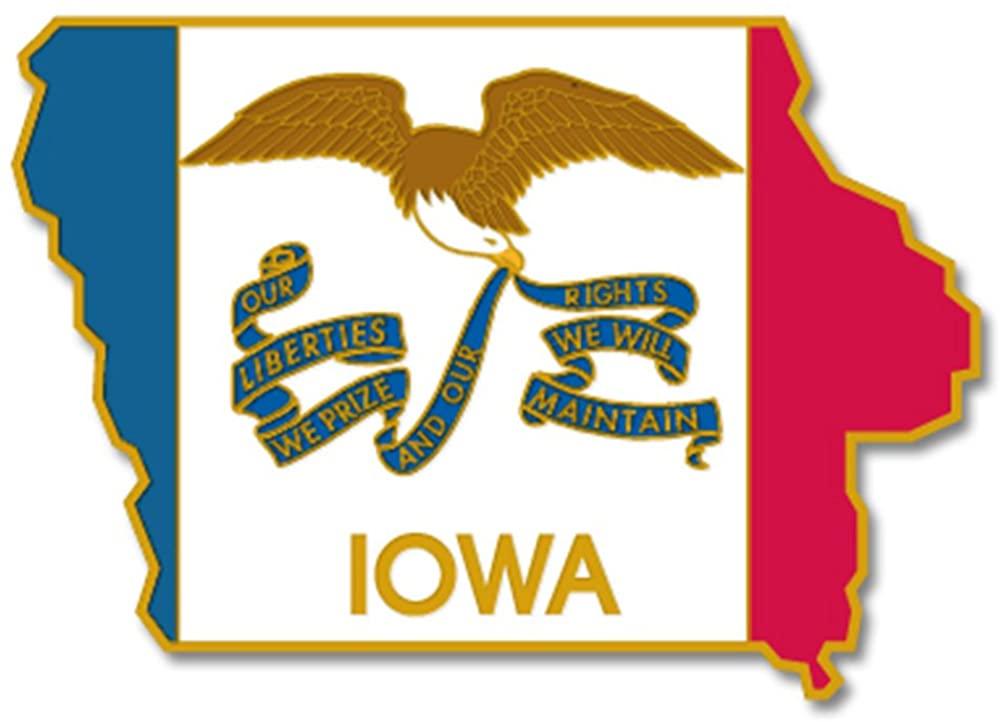 PinMart State Shape of Iowa and Iowa Flag Lapel Pin