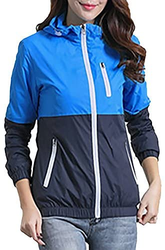 Miouke Womens Lightweight Windbreakers Sun Protection Outdoor Hooded Sports Outwear Quick Dry Jacket Lovers Coat,Skyblue,US Size S(Tag Size L)