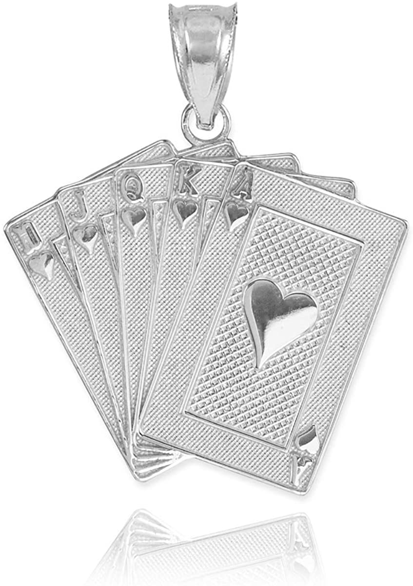 Good Luck Charms Fine 925 Sterling Silver Royal Flush of Hearts Poker Charm Pendant