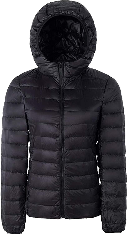 CHERFLY Womens Lightweight Down Jacket Packable Puffer Hooded Short Coat