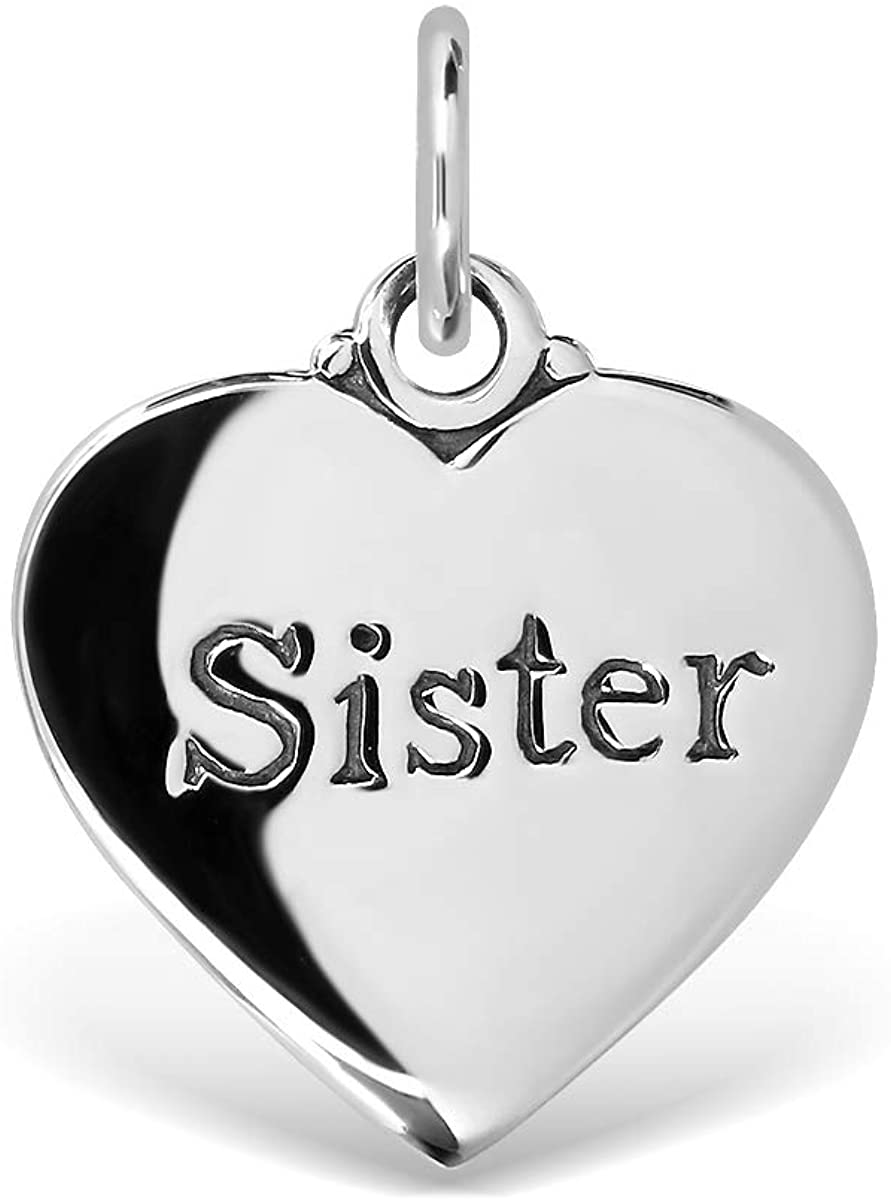 WithLoveSilver 925 Sterling Silver 15mm Flat Heart Love Sister Pendant