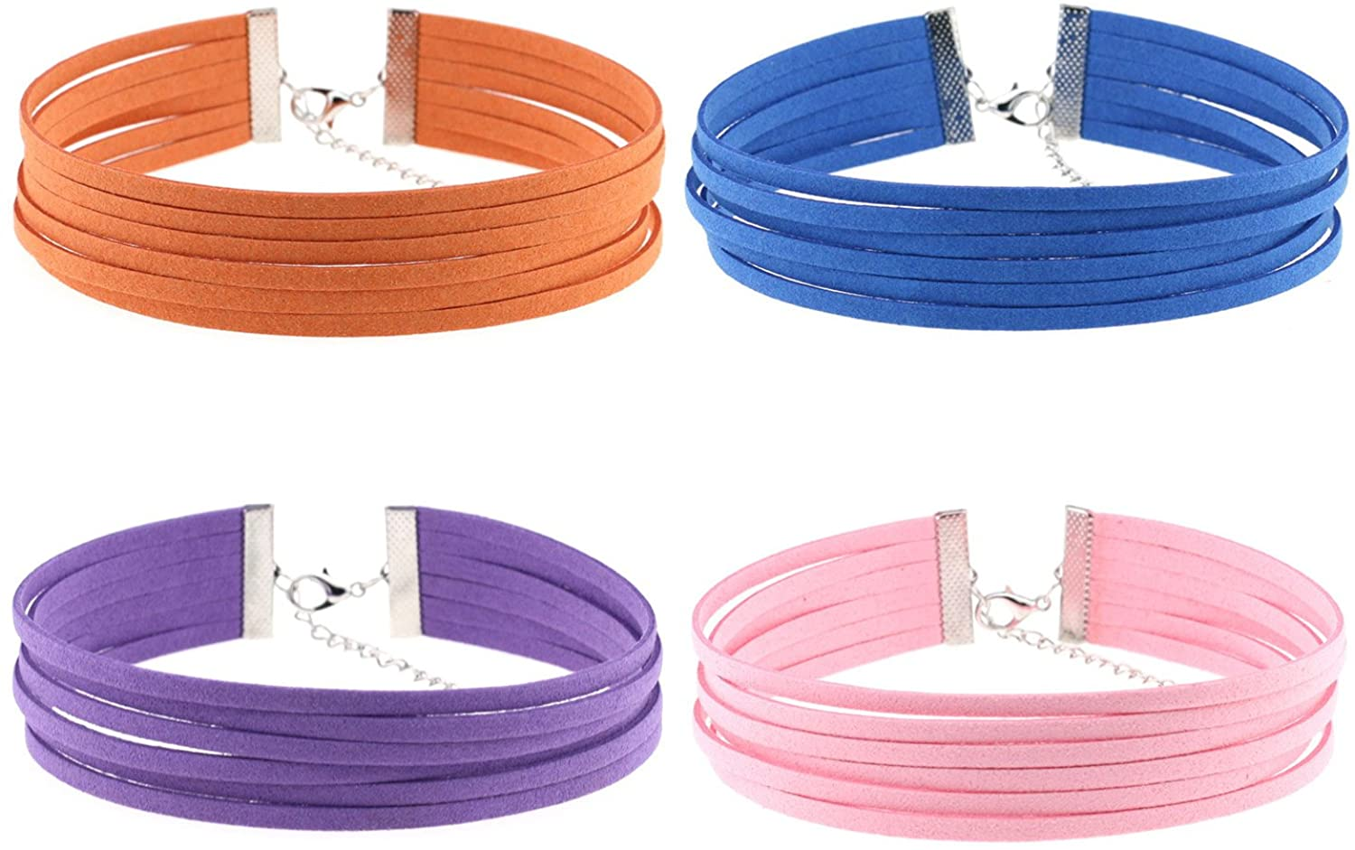 FM FM42 Cloth Simulated Leather Multilayer Adjustable Choker Necklace 1