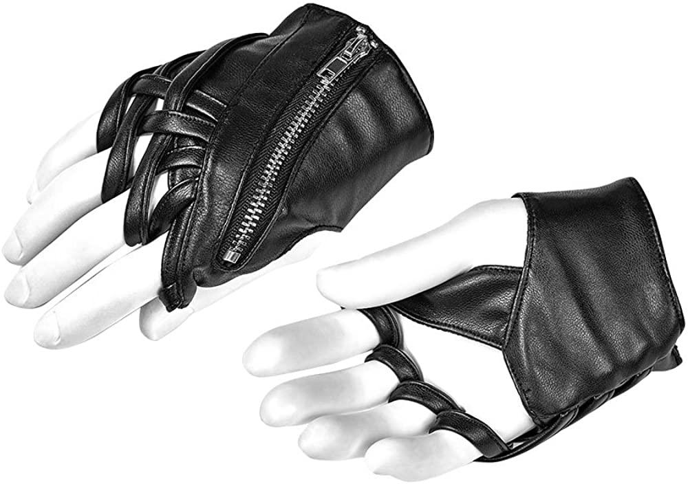 Nite closet Punk Rock Gloves Women PU Leather Fingerless Steampunk Accessory