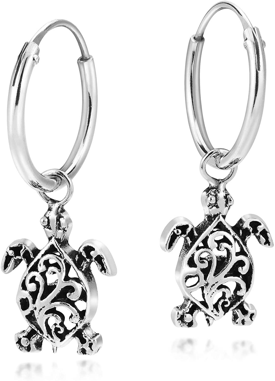 Amazing Filigree Swirls Sea Turtles Sterling Silver Dangle Mini Hoop Earrings