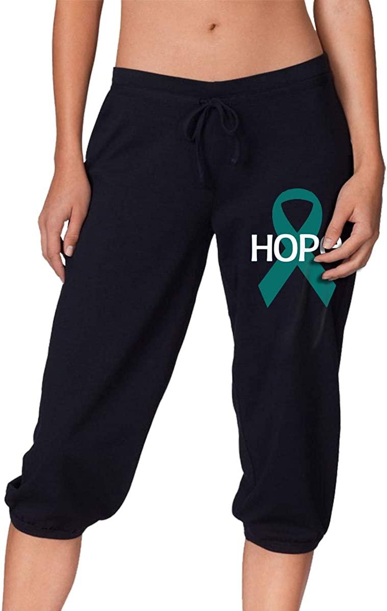 SDFF2344 Hope Ovarian Cancer Awareness Flag Women's Stretch Workout Knee Pants Capris