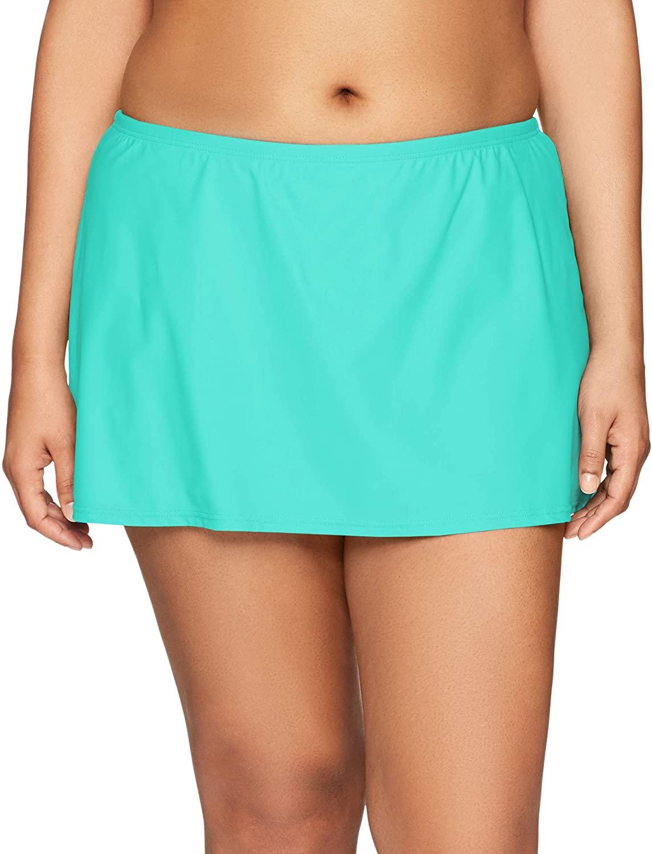 24th & Ocean Women's Plus Size Solid Skirted Hipster Bikini Swimsuit Bottom