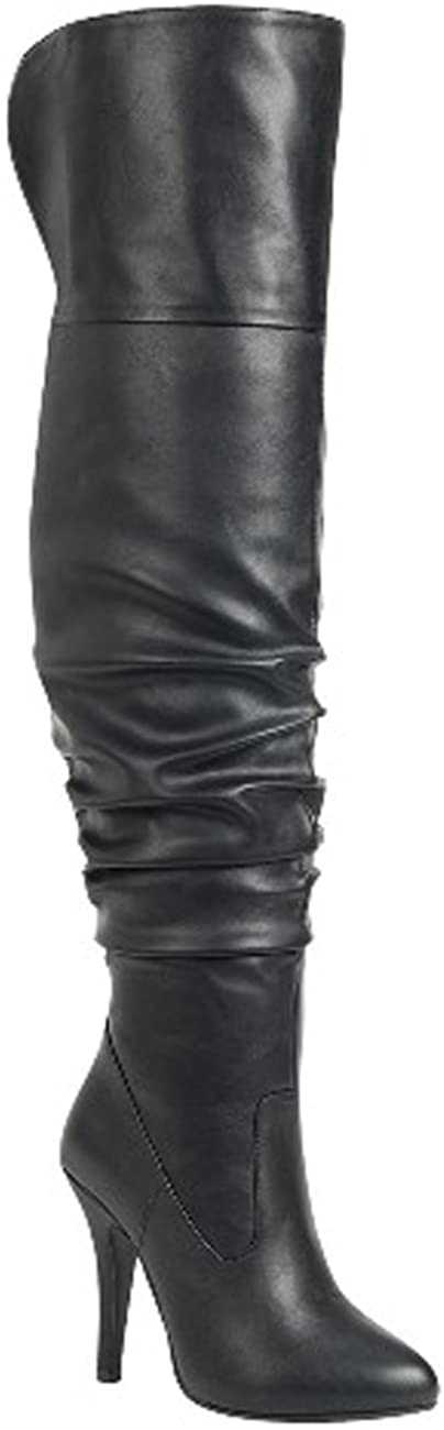 Forever Link Womens Focus-33 Black Vegan Leather Over The Knee Fashion Boots