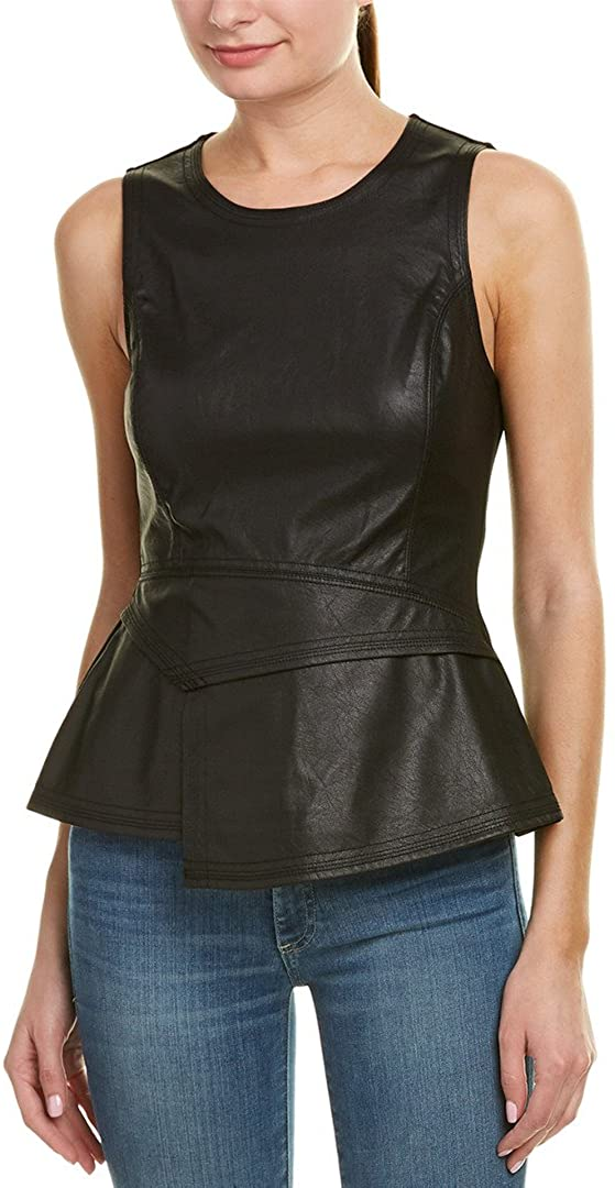 BCBGMAXAZRIA Women's Tori Faux-Leather Peplum Top