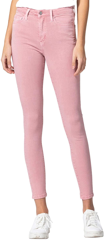 VERVET by Flying Monkey Women's High Rise Vintage Spring Pink Color Skinny Jeans