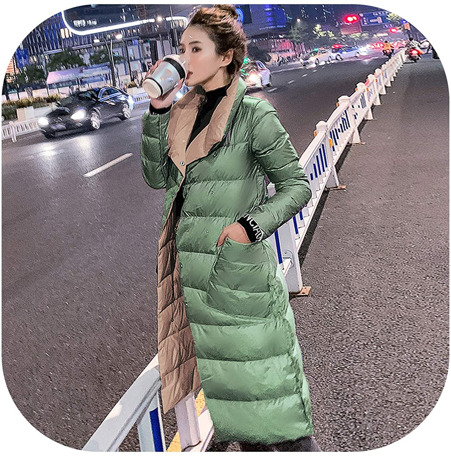 Double Sided Womens Down Jacket Long Winter White Duck Down Coat Female Double Breasted Plus Size Coats