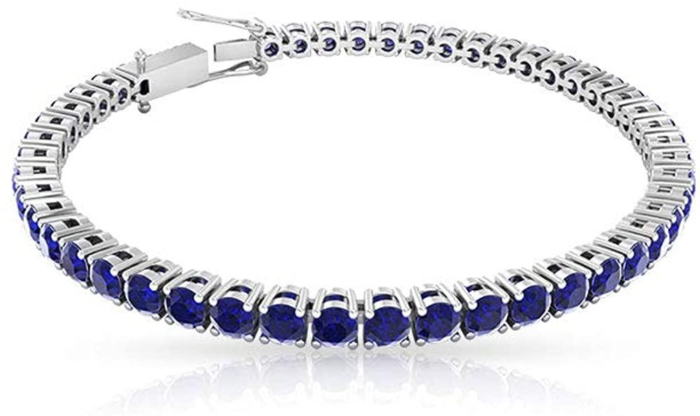 7.35 Ct Blue Sapphire Gold Tennis Bracelet, Classic Bridal Wedding Stackable Bracelet, SGL Certified Gemstone Charm Bracelet, Women Statement Bracelet