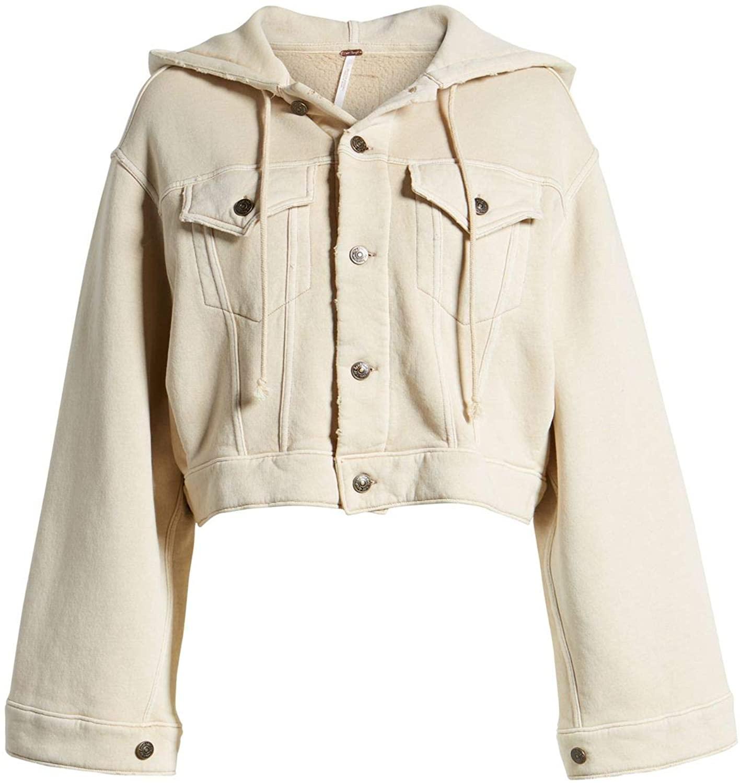 Free People Women's Dreamers Hooded Jacket Earl Grey Tea X-Small