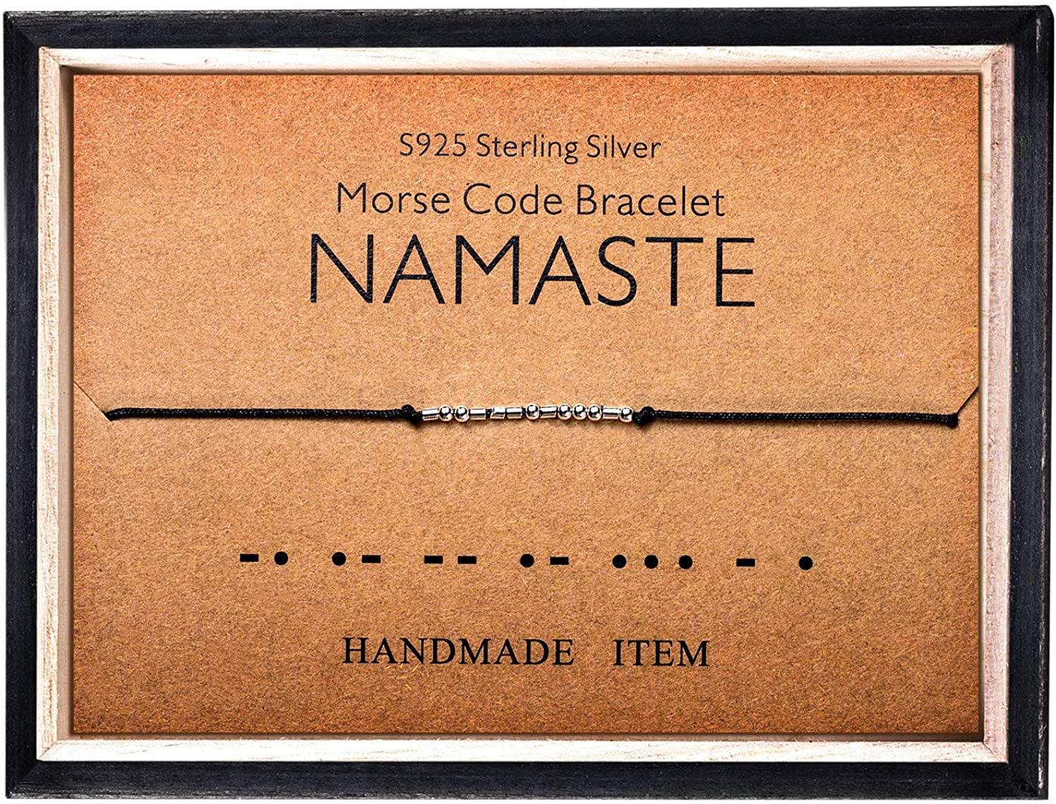 Morse Code Bracelet 925 Sterling Silver Beads on Silk Cord Secret Message NAMASTE bracelet Gift Jewelry for her