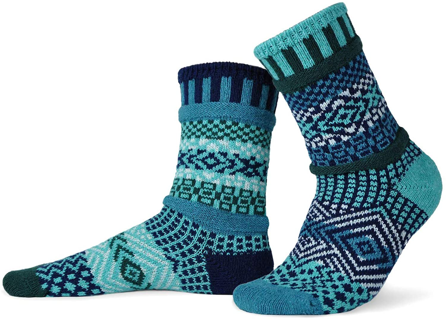 Solmate Socks - Mismatched Crew Socks; Made in USA; Evergreen Large