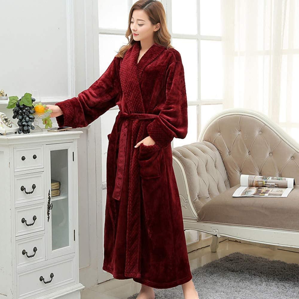 llwannr Bathrobe Robe Nightgown Sleep,Women Extra Long Soft as Silk Flannel Bath Robe Winter Warm Bathrobe Bride Kimono Dressing Gown Bridesmaid Robes Wedding,Women Wine,XL