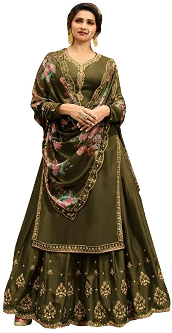 Mehendi Green Punjabi Ethnic Maslin Satin Salwar Kameez with Printed Dupatta Indian Women Fancy Party wear Suit Semi-stitch 8662