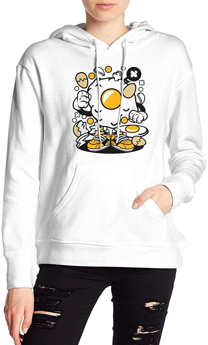 Nbcf Eggs Women's Long Sleeve Drawstring Pullover Hoodie Pocketed Sweatshirts