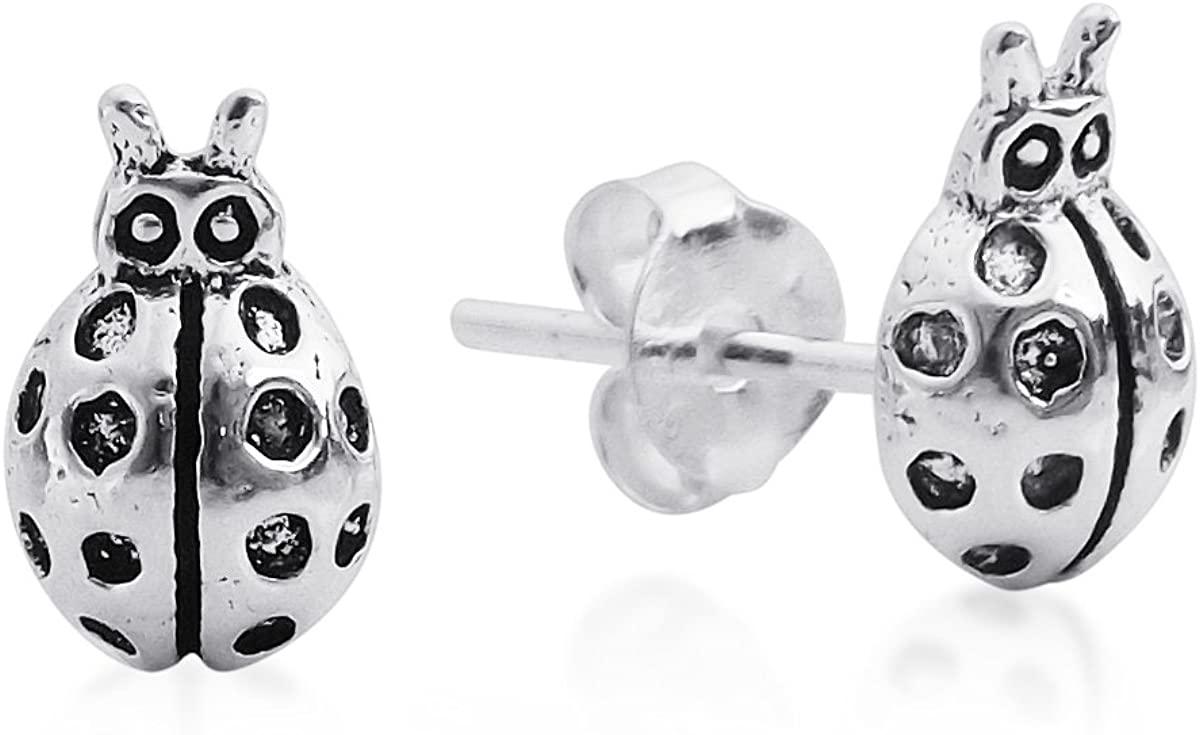 Charming Mini Shiny Lady Bug .925 Sterling Silver Stud Earrings
