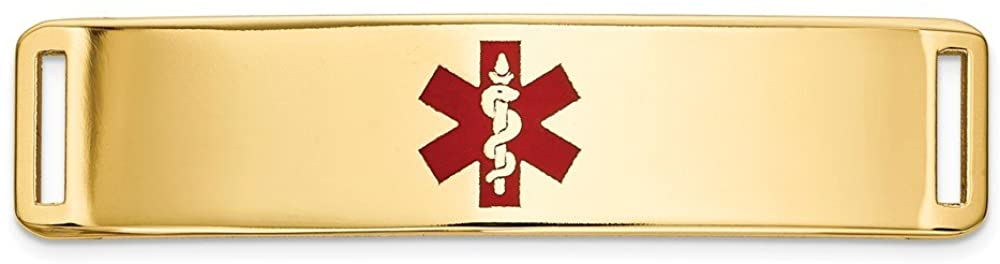 Solid 14k Yellow Gold Epoxy Enameled RN Registered Nurse Caduceus Symbol Medical ID Ctr Plate # 820 - with Secure Lobster Lock Clasp (Width = 10mm)