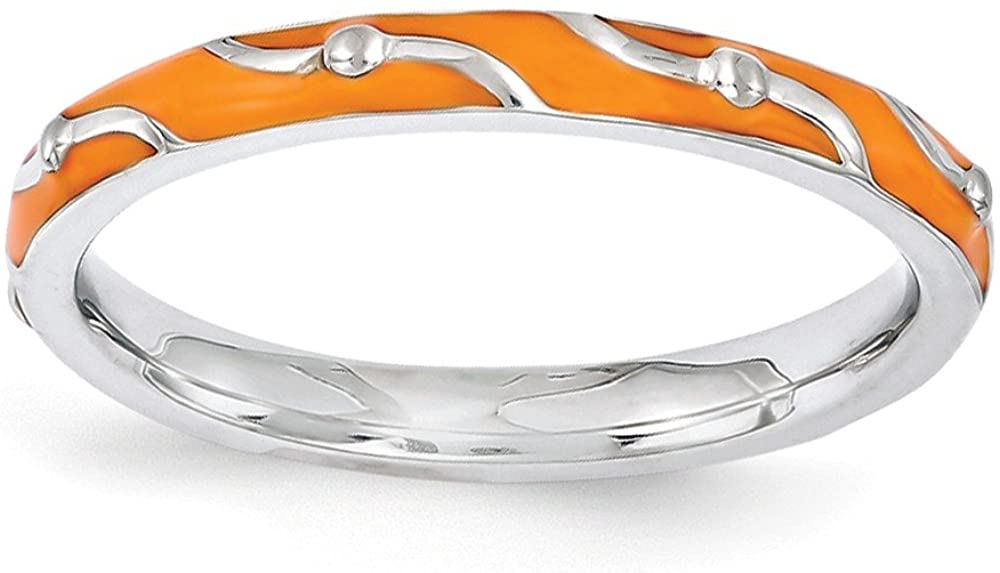 Sterling Silver Stackable Expressions Orange Enamel Ring Size 5