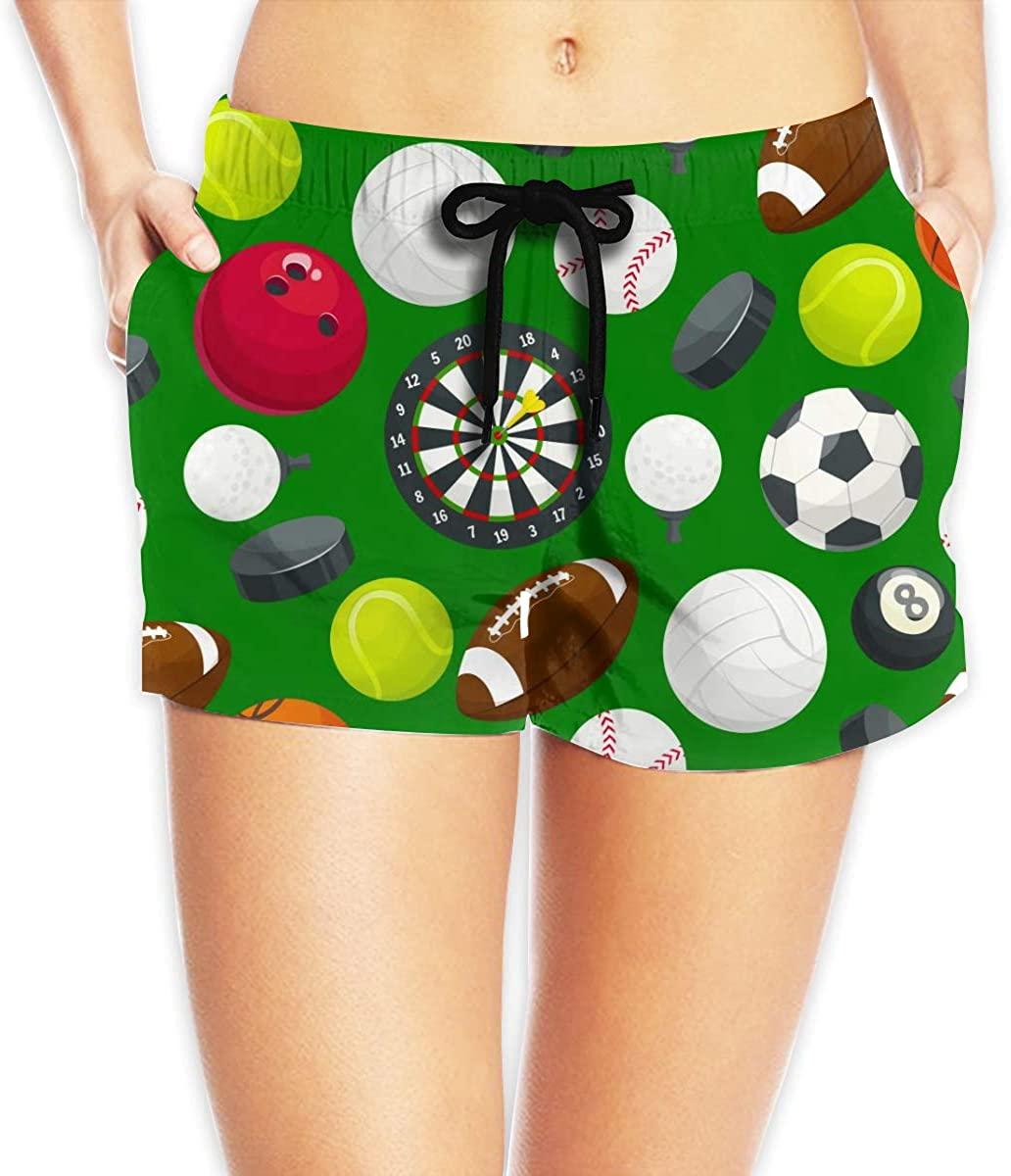 Sport Ball Pattern Women's Beach Shorts Board Shorts with Pocket Swimming Trunks