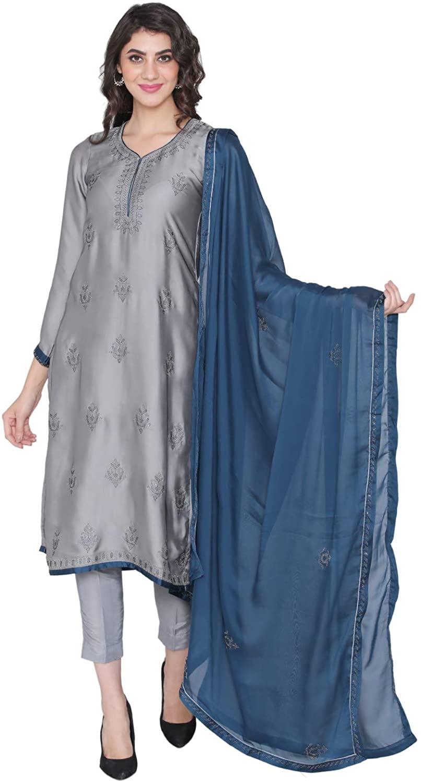 PINKSHINK Women's Readymade Grey Satin Indian/Pakistani Salwar Kameez Dupatta
