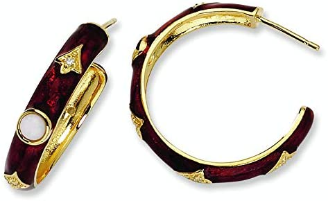 Gold-plated Sterling Silver Enam Simul. Wht Agate/CZ Hoop Earrings
