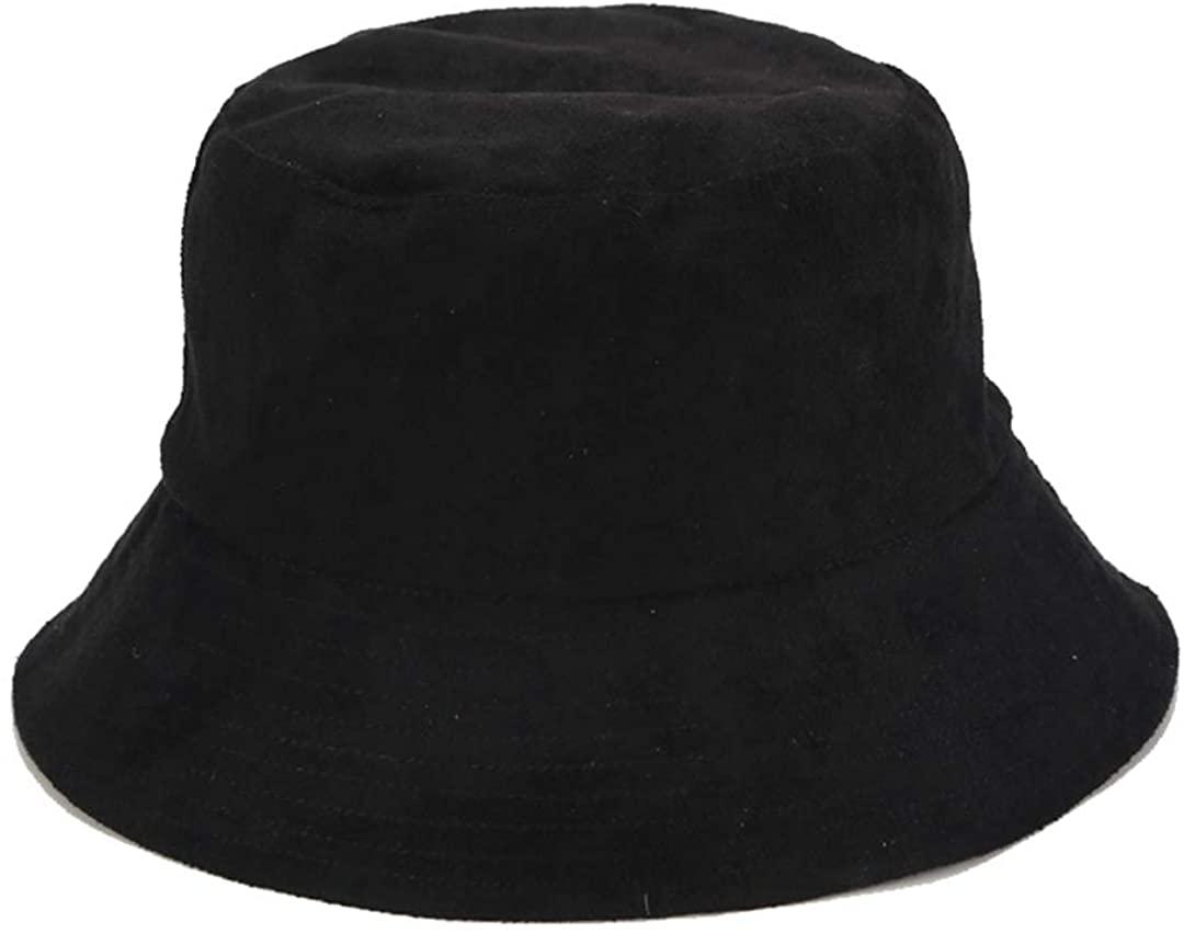 Solid Color Bucket Hat Suede Classic Fisherman Hats Winter Reversible Packable Cap