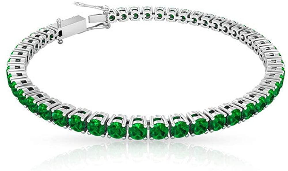 5.88 Ct Certified Lab Created Emerald Gold Bracelet, Unique Wedding Bridal Charm Bracelet, Statement Women Tennis Bracelet, Antique Gemstone Bracelet