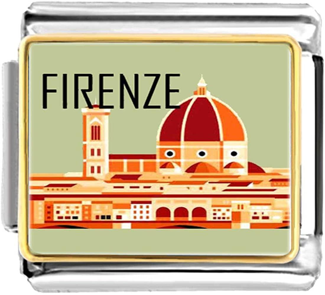 GiftJewelryShop Gold Plated Firenze Bracelet Link Photo Italian Charm