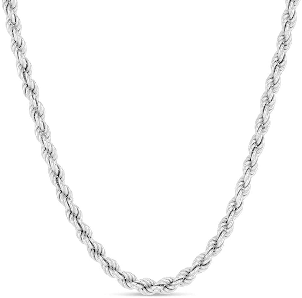 Verona Jewelers 925 Sterling Silver Diamond-Cut Rope Chain Solid Link Necklace 2MM 2.5MM 3MM- Braided Twist Necklace, Men Women Boys Girls, Jewelry Accessories Made in Italy, 14-36