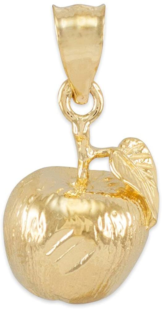 High Polish 10k Yellow Gold Leaf and Fruit Charm Golden Apple Pendant