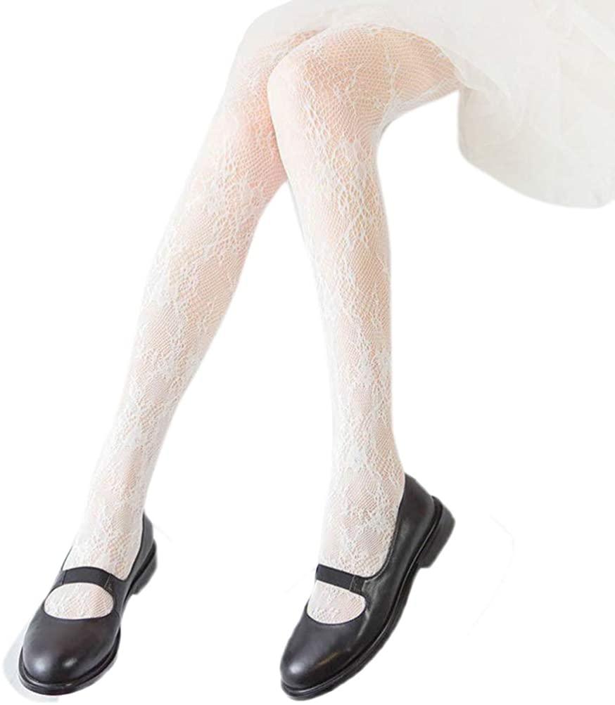 Telamee Girls Long Lace Stockings Plus Size Pantyhose Leggings Sexy Floral Socks