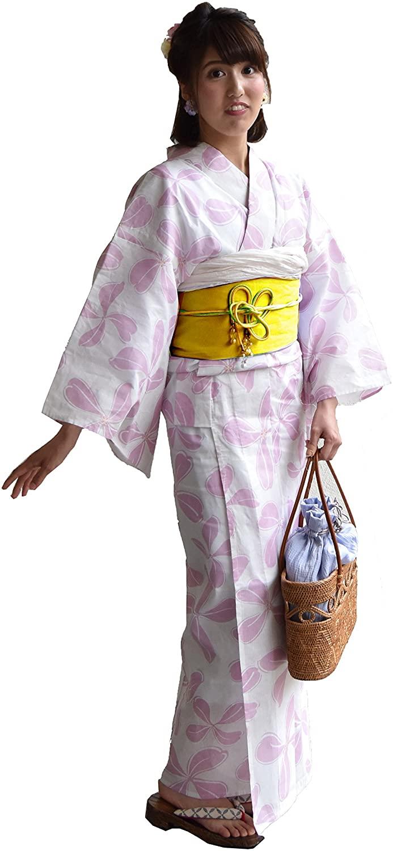 Japanese Kimono Robe Women Traditional Yukata OBI Belt Set Geisha Samurai Mt.Fuji Pink