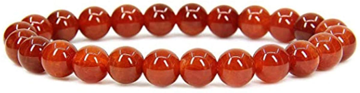 yt Mixed Stone 6/8/10mm Round Beads Stretch Bracelet 7inch (red Agate, 8)