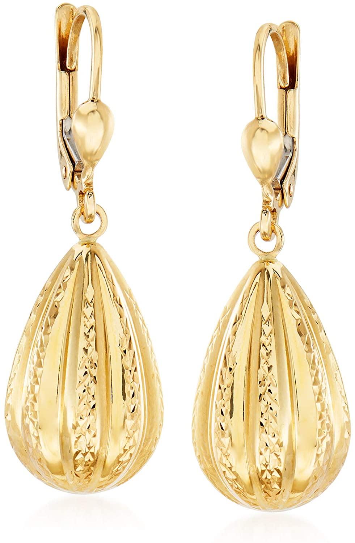 Ross-Simons 14kt Yellow Gold Teardrop Earrings