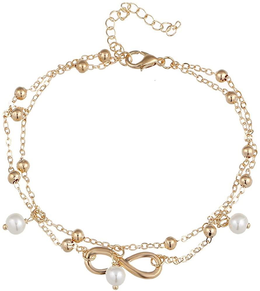 BELUCKIN Infinity Pearl Anklet Bracelet Foot Chain Beach Jewelry Bohemian Anklet Layer Anklet Women Jewelry