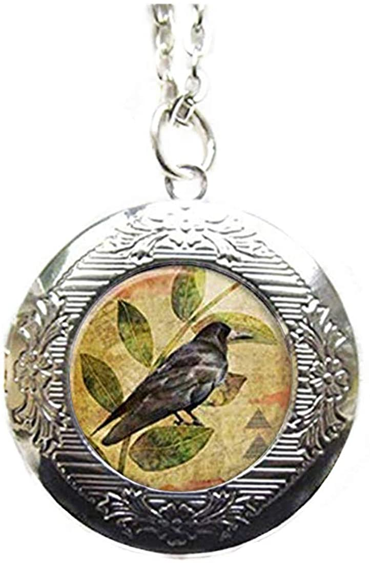 Photo Locket, Raven Necklace, Locket Necklace, Raven Pendant, Raven Jewelry