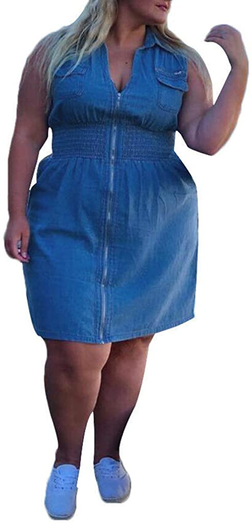 Aritone - women clothes Womens Plus Size Denim Dress, Summer Casual Sleeveless Sexy V-Neck Zip Up Mini Jeans Dress L-5XL