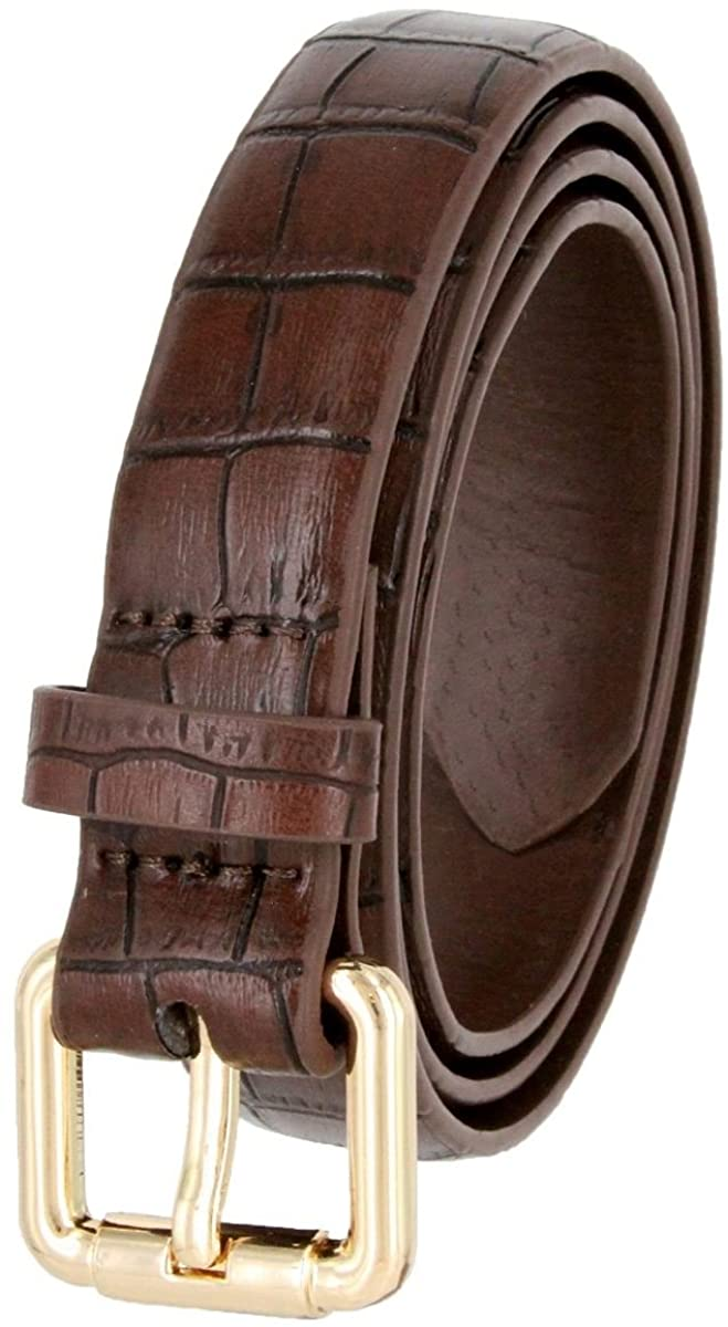 Women's BROWN Skinny Alligator Embossed Leather Casual Dress Belt with Roller Buckle L Size