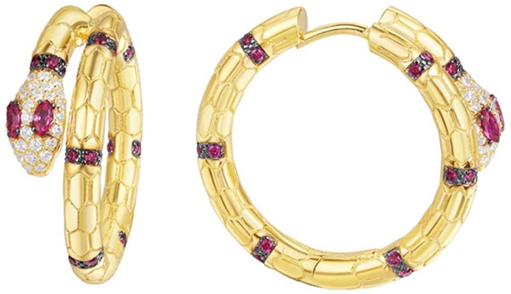 Gold Snake Hoop Earrings, 14K Gold Plated Rose Red Cubic Zirconia Dainty Sterling Silver Huggie Hoop Earrings for Women, Hypoallergenic Earrings for Women Sensitive