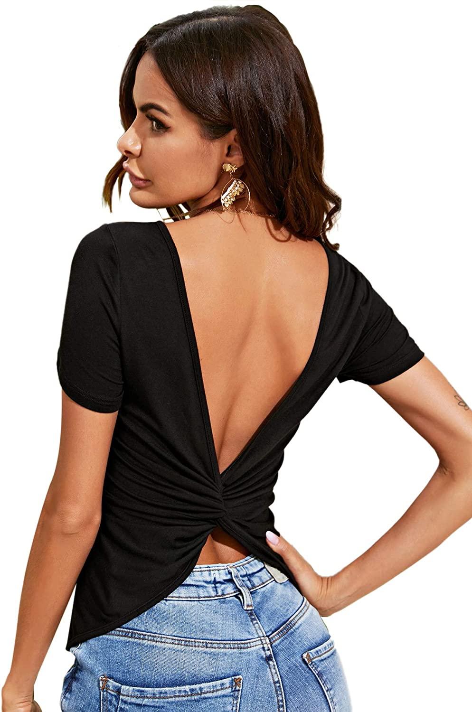 Verdusa Women's Twist Open Back Short Sleeve Round Neck Tee Top