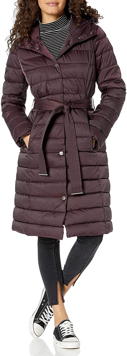 Kenneth Cole New York Women's Belted Snap Front Puffer with Faux Fur Trimmed Hood