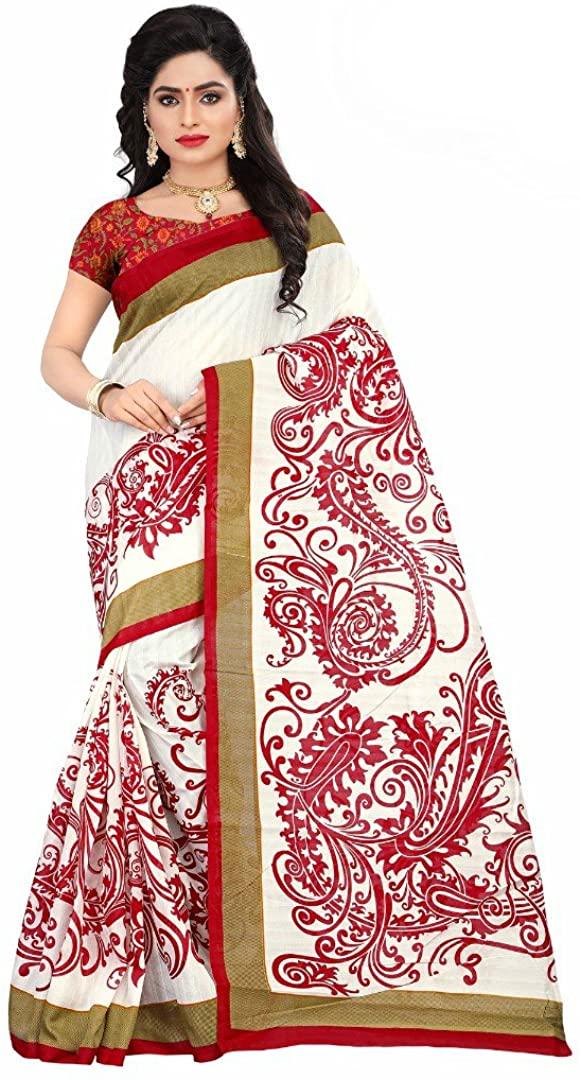 Jaanvi fashion White & Red Bhagalpuri Silk Printed SareeWith Unstitched Blouse
