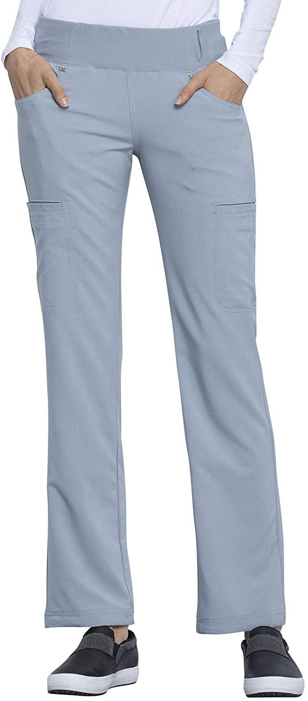 CHEROKEE iflex Mid Rise Straight Leg Pull-on Pant, CK002, XS, Grey