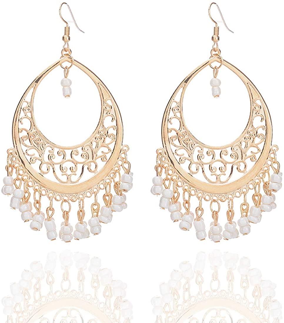 Bohemian Chandelier Coin Sequins Dangle Drop Earrings Ethnic Gypsy Beads Tassel Hoops with Disc Charms Boho Ear Jewelry Women
