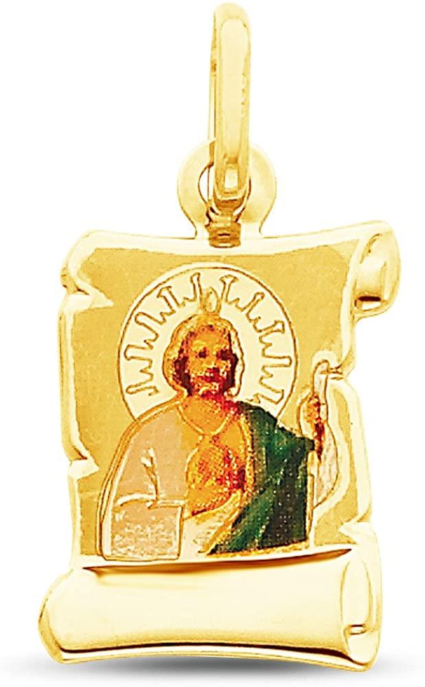 Sonia Jewels 14K Yellow Gold Religious Saint Jude Enamel Picture Charm Pendant (20.5x12.5 mm)