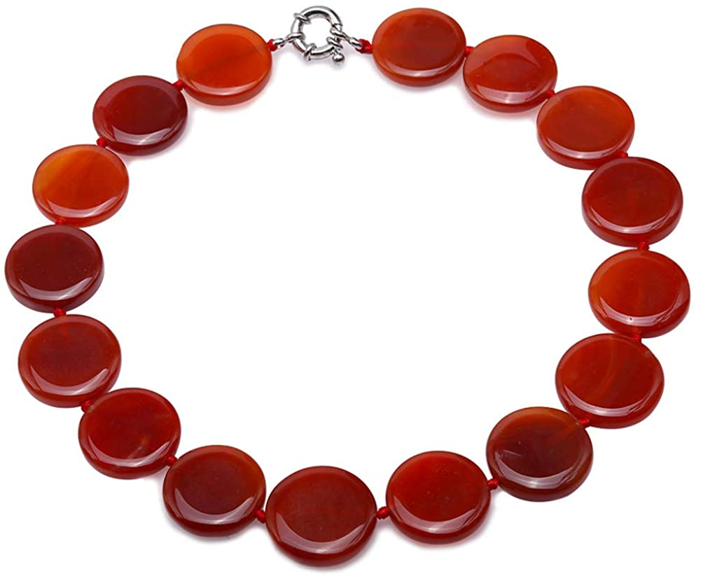 JYX Agate Gemstone Necklace 25×25mm Flaky Round Agate Necklace 19